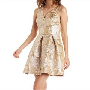 ARK & CO Gold Pleated Dress NWT in Size Large